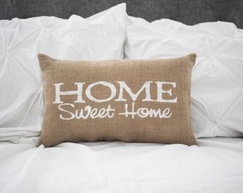 Home Sweet Home pillow, home pillow, home decor, burlap pillow, fabric pillow, 15x10 accent pillow, farmhouse pillow cottage decor