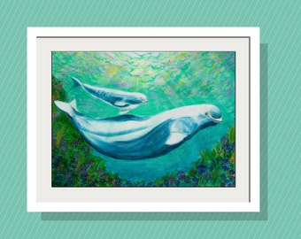 Kids Walll Art - Mom and Baby Beluga Whale  Art Print - 10 x 14 Limited Edition - Original Acrylic Painting - Beach Decor