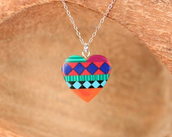 Tribal heart necklace - native american necklace - navajo jewelry - new mexico necklace