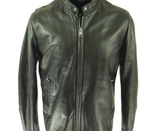 Vintage 60s Fidelity Leather Motorcycle Jacket Mens 46 Long  Black Biker Liner [H46R_4-7_Leather]