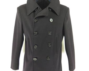Vintage 40s WWII Era 10 Button Peacoat 42 Naval Clothing Factory Wool Pea Coat [H01V_5-1]