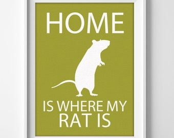 """8x10"""" Rat Wall Art, Pet Rat gift, Rat Decor, Rat Lover, Rat Christmas Gift, Pet Rat Art, Rat Present, Rat Birthday, Cute Rat Gift, Rat Love"""