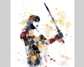 Xena Warrior Princess inspired ART PRINT illustration, Wall Art, Home Decor, Lucy Lawless