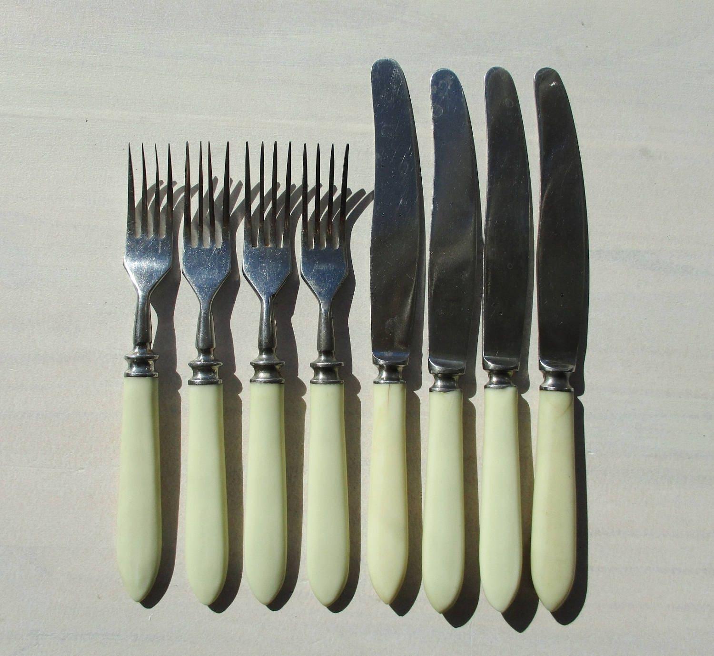 vintage cutlery bakelite handles knives and forks russian