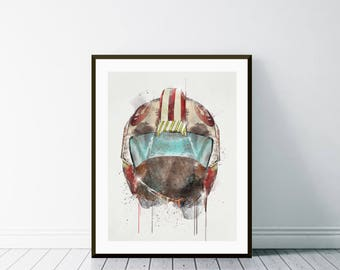 x wing pilot .watercolor star wars x wing pilot helmet. boys room decor. pop posters for home decor.Gilcee fine art print.color your world