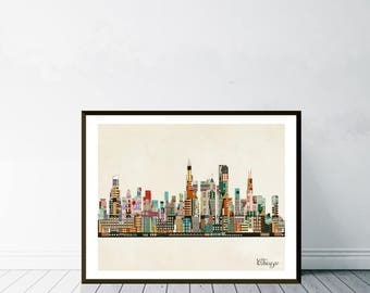 chicago city illinois.chicago city skyline.chicago cityscape.colorful pop art skylines for home decor.Giclee art print.color your world
