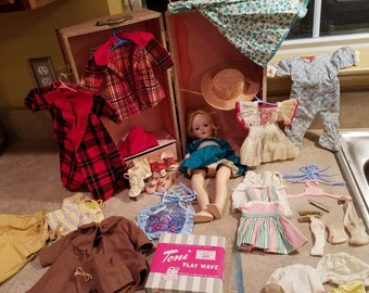 """Vintage 1950s Ideal TONI doll P-90 14"""" with Case and Many Extras"""