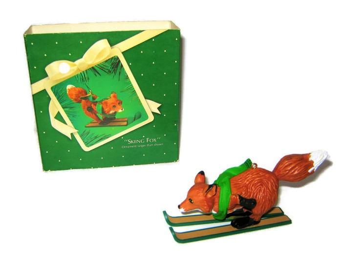 Vintage Hallmark Christmas Skiing Fox Ornament Figure