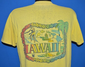 60s Hawaii Surfing Rainbow Distressed t-shirt Large