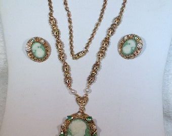 W. Germany Green Cameo Necklace and Earrings