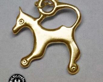 9th century bronze Liv & Latgallian horse/leucrota pendant from Viking Age Latvia
