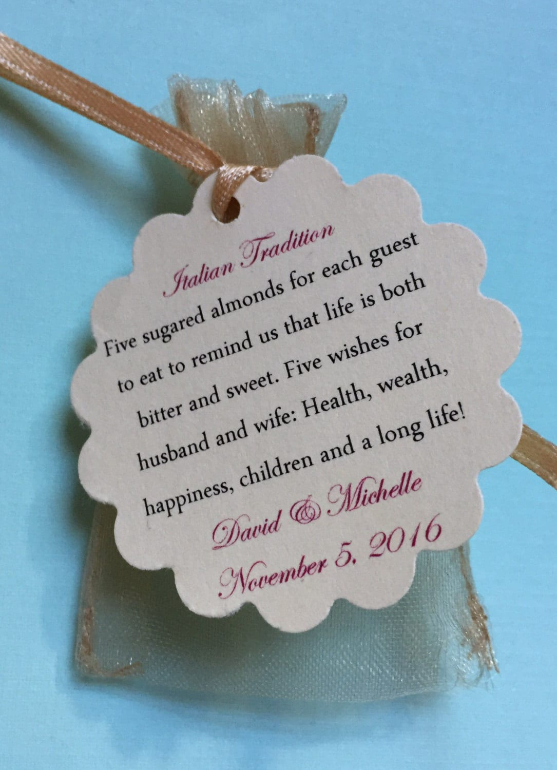 Jordan Almond Wedding 5 Wishes Poem Customized Favor Tag And
