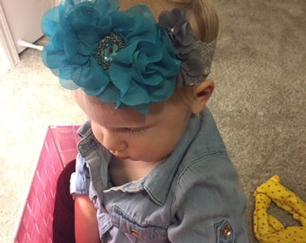 Lacy gray and blue flower headband