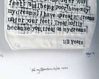 """WB Yeats """"Cloths of Heaven"""" - Irish Poetry in Porcelain - Love"""