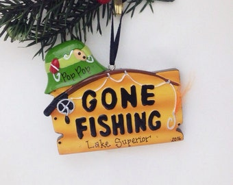 Gone Fishing Personalized Christmas Ornament / Fishing Ornament / Fisherman / Personalized Ornament / Dad Gift / Dad Ornament