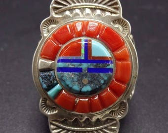 Signed Vintage NAVAJO Sterling Silver & TURQUOISE Ring, size 12, WILBERT Manning