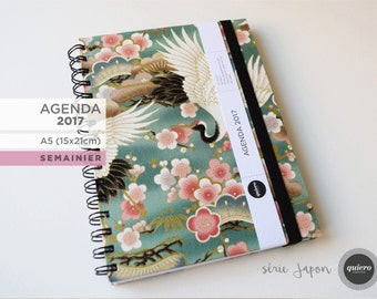 Agenda 2017 - A5 - fabric Japanese, crane, green - 15x21cm