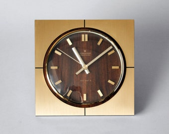 Vintage German Junghans Ato-Mat clock, German wall clock, Junghans Made in Germany, 60s square kitchen clock, gold starburst office clock