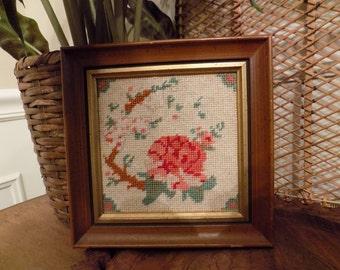sweet little vintage framed rose needlepoint picture