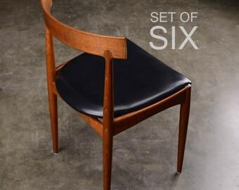 6 Mid Century Dining Chairs Teak Danish Modern Johannes Andersen