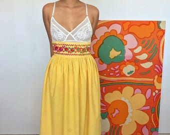 1960's Floral Embroidered Maxi Skirt
