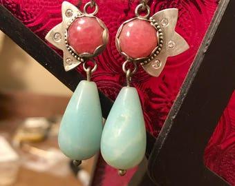 Handmade sterling silver Beautiful beaded lotus drop earrings