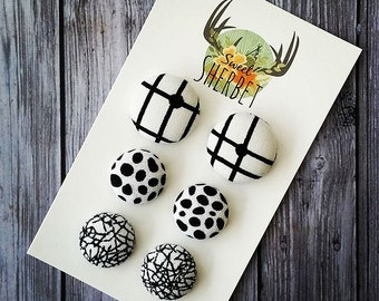 Fabric button stud set, Mad about Monochrome