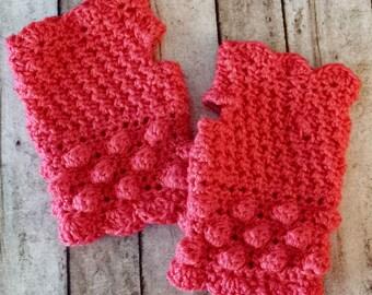 Handmade Crochet Fingerless Gloves, Wrist Warmers, Hand Warmers, Bobbles