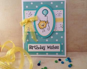 "Handmade Card~""Birthday Wishes""~Chick with Balloon~Peep~Happy Birthday~Dimensional~Aqua Green~Girls~Teens~CC Designs~OOAK"