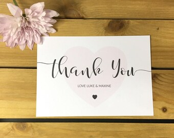 Heart Script Wedding Thank You Note Card Packs, Thank You Cards