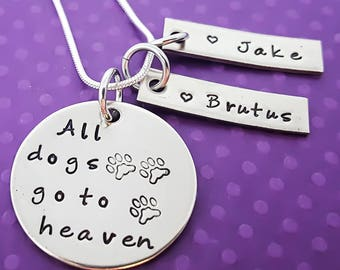 Pet Necklace -All dogs go to heaven, Personalized dog  Neckalce - Dog Memorial Necklace - Dogs leave paw prints on our hearts