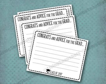 "GRADUATION Advice Cards, Instant digital download, easy printing, 2017 Graduation Party decor, 4.25x5.5"", 4 cards per sheet, DIY printable"