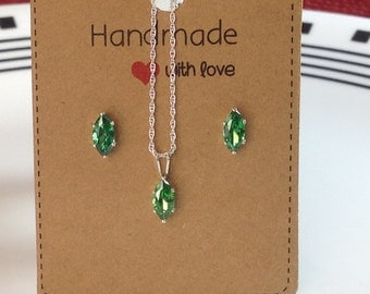 Emerald Jewelry Set Marquise Cut Emerald Necklace and Earrings Set Sterling Silver Double Rope Chain Made In Italy