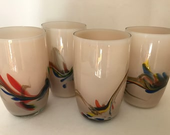 Vintage set of 3 Art glass -Multi colored -Swirl Design-Hand Blown Drinking Juice Glass Tumblers