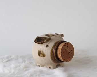 Artist Signed Stoneware Pottery Piggy Bank with Cork Nose