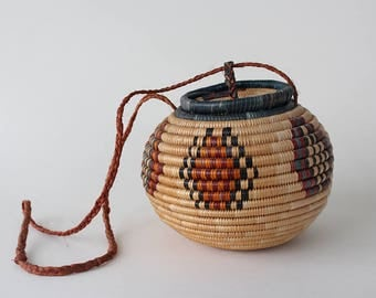 Vintage Woven Coil Basket Purse Made in Africa