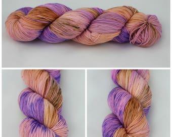 SW Merino Sock - {Who run the World? GIRLS!} peach, orange, pink, purple with speckles of rust on 4 ply sock yarn