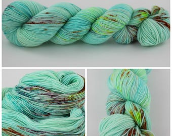 MCN Sock - Hand Dyed Yarn - {Butterfly Kisses} is sock yarn, knitting yarn, crochet, mint, teal, equa, speckled orange, pink, neon yellow