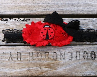 Ladybug Black and Red Infant Headband