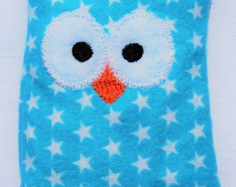 Ouchie Owl ~ Hot or Cold ~ Rice Pack - Blue and White - Stars