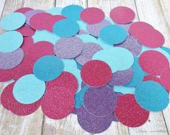 Mermaid Glitter Confetti-1.5 Inch Paper Circles-Under the Sea Party-Blue Purple Hot Pink-Birthday Table Decoration-250 Pieces