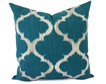 Teal Pillow Covers - Turquoise Throw Pillows - Pillow Cover - Teal Couch Pillow - Decorative Pillow Covers - Quatrefoil Pillow Cover