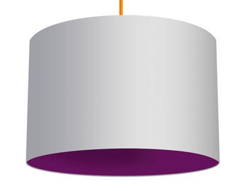 White Linen Fabric Drum Lampshade With Contrasting Geranium Purple Cotton Lining, Small Lampshade 20cm - Large Lampshade 40cm or Custom Size