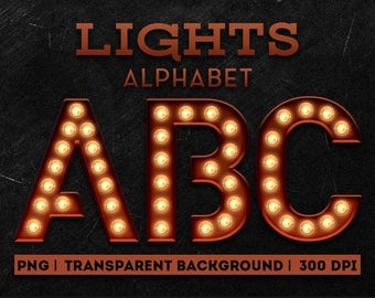 Letters with lights Clipart - Lightbulb Alphabet clipart - PNG Alphabet - Digital Marquee letters - Digital resources