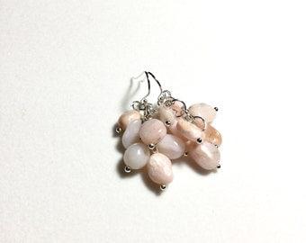 Pink Opal Earrings Sterling Silver Opal Natural Pink Stone Earrings Genuine Pink Opal Jewelry Gemstone October Birthstone