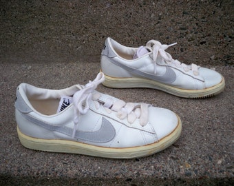 Vintage '80 Nike Swoosh Cortez White Leather Men's Trainers Sneakers Kicks Shoes Size 6.5 Made in Korea