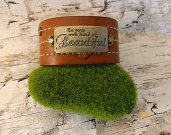 Be Your Own Kind Of Beautiful, Leather Cuff, Upcycled Belt, Repurposed, Brown Leather, LookSomethingShiny