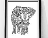 Elephant Coloring Page to Print and Color, Nature, Flowers, Adult Coloring Page. Original Instant Digital Download