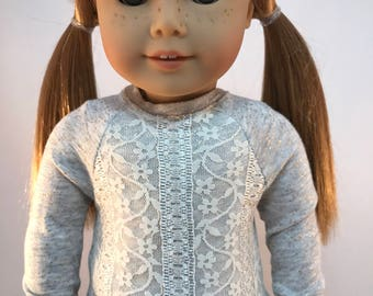 "18 inch doll clothes ""The Picadilly Sweater"" Eco-Friendly golden sweater with White Stretch Lace overlay for the ""American Girl Doll"""
