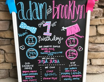 Bow tie and bow twin birthday chalkbaord first birhday chalkboard sign first birthday photos